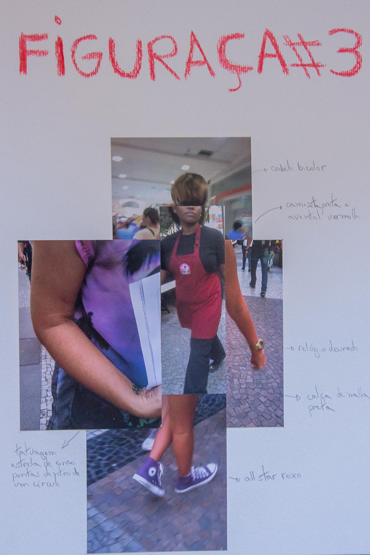 #4ParedeParaTodos #PraTodoMundoVer - Imagem colorida de uma folha de papel com uma cabeçalho escrito Figuraça #3, escrito em vermelho. Abaixo do cabeçalho, estão coladas fotos de partes do corpo de pessoas diversas: o braço de uma mulher, o corpo de outra, as pernas de outra. Ao lado de cada foto, uma descrição de um elemento de cada imagem: desenho de tatuagem, cor de sapatos etc.